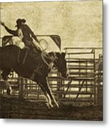 Vintage Saddle Bronc Riding Metal Print