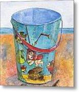 Vintage Sand Pail Sweet Pea Metal Print by Sheryl Heatherly Hawkins