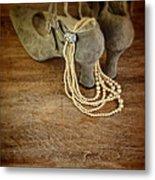 Vintage Shoes And Pearls Metal Print
