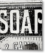 Vintage Soap Crate In Black And White Metal Print