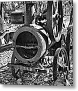 Vintage Steam Tractor Black And White Metal Print