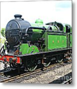 Vintage Steam Train In Green  Metal Print