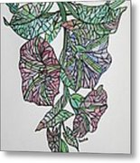 Vintage Style Stained Glass Morning Glory Metal Print