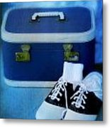 Vintage Suitcase And Saddle Shoes Metal Print