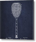 Vintage Tennnis Racket Patent Drawing From 1887-navy Blue Metal Print