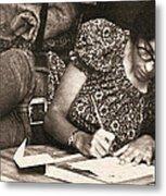 Vintage Young Woman Writing  Metal Print