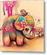 Vintage Tie Dye Elephants Metal Print