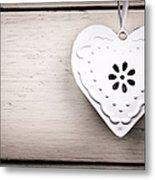 Vintage Tin Heart Metal Print by Jane Rix
