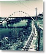 Vintage Train Tracks In Nashville Metal Print
