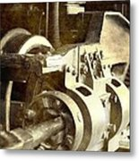 Vintage Train Wheel Metal Print