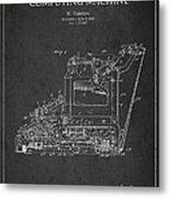 Vintage Typewriter Patent From 1918 Metal Print