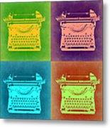 Vintage Typewriter Pop Art 1 Metal Print