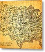 Vintage United States Highway System Map On Worn Canvas Metal Print