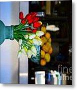 Vintage Vase And Rose Metal Print by Bobby Mandal