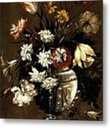 Vintage Vase Of Flowers C1650 Metal Print
