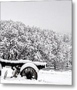 Vintage Wagon In Snow And Fog Filled Valley Metal Print