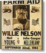 Vintage Willie Nelson 1985 Farm Aid Poster Metal Print