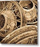 Vintage Wire Wheels Metal Print