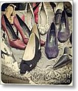 Vintage Women Shoes Metal Print