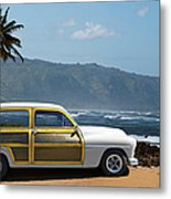 Vintage Woody On Hawaiian Beach Metal Print