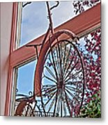 Vintage Wrought Iron Bike In Window Art Prints Metal Print