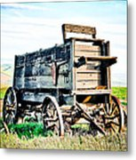 Vintaged Covered Wagon Metal Print