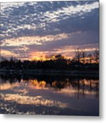 Violet Twilight On The Lake Metal Print