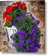 Violets And Geraniums On The Bricks Metal Print