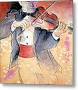 Violin Man Metal Print