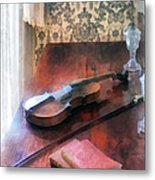 Violin On Credenza Metal Print