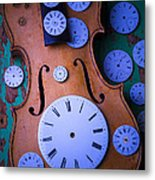 Violin With Watch Faces Metal Print by Garry Gay