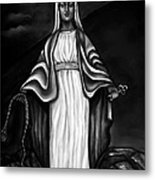 Virgen Mary In Black And White Metal Print