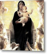 Virgin And Child Fractalius Metal Print
