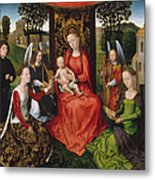 Virgin And Child With Saints Catherine Of Alexandria And Barbara Metal Print