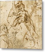 Virgin And Child With Saint Francis Metal Print