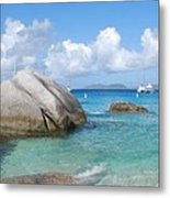 Virgin Islands The Baths With Boats Metal Print