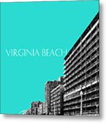 Virginia Beach Skyline Boardwalk  - Aqua Metal Print