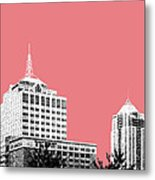 Virginia Beach Skyline - Light Red Metal Print