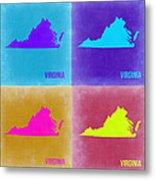 Virginia Pop Art Map 2 Metal Print