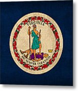 Virginia State Flag Art On Worn Canvas Metal Print