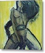 Virgo Nude Woman In Yellow Metal Print