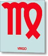 Virgo Zodiac Sign Red Metal Print