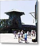Visitors Heading Towards The Waterworld Attraction At Universal Studios Metal Print