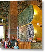 Visitors Pass Bottoms Of Feet Of Reclining Buddha In Wat Po In B Metal Print