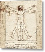 Vitruvian Man. 1492. Renaissance Art Metal Print