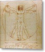 Vitruvian Man By Leonardo Da Vinci  Metal Print by Karon Melillo DeVega