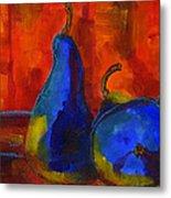 Vivid Pears Art Painting Metal Print by Blenda Studio