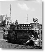 Vizcaya Breakwater Ship Footbridge And Skyline Biscayne Bay Miami Florida Black And White Metal Print