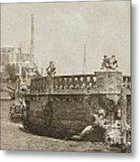 Vizcaya Breakwater Ship Footbridge And Skyline Biscayne Bay Miami Florida Vintage Digital Art Metal Print