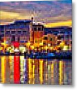 Vodice Waterfront Colorfu Evening Panorama Metal Print